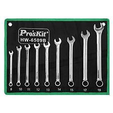 Eclipse Pro'sKit HW-6509B Wrench Set, Metric, Chrome Vanadium Steel, 9 Piece