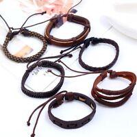 Fashion 6pcs/set Vintage Punk Leather Bracelet Wristband Bangle Men Jewelry Hot