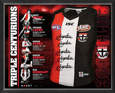 St Kilda Signed Triple Centurions Jumper Framed 300 Games Nick Riewoldt Harvey
