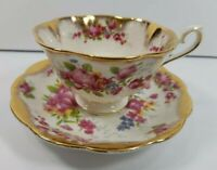 Royal Albert Footed Cup and Saucer Bone China Rose Foral w/ Gold Made in England