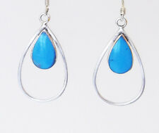 Turquise Oval Teardrop Hook in Drop Silver Earrings