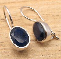 925 Silver Plated Over Solid Copper Earrings, Simulated SAPPHIRE Gemset