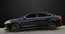 BODY SIDE Moldings PAINTED With Red Trim Insert For: FORD FUSION 2013-2017