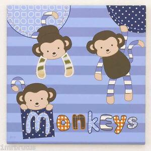 CoCaLo Monkey Mania Boy's Nursery Canvas Wall Art Hanging Playful Monkey Blue
