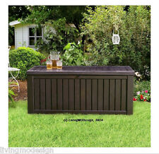 Keter Rockwood 150 Gallon Patio Storage Bench Weatherproof Deck Box