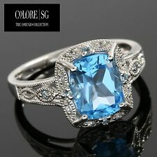 DESIGNER COLORESG by LORENZO -SWISS BLUE TOPAZ & WHITE SAPPHIRE 925 S.S RING