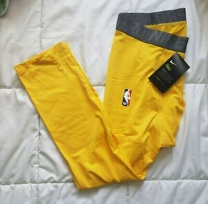 Nike Pro NBA Player Issue 3/4 Compression Tights Yellow Sz Xlarge (AT9764-728)