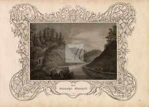 DECORATIVE Border - Der Oelsbacher Einschnitt Antique Engraving - 1847 #B222