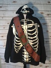 Disney Parks Mens Hoodie Sweatshirt Pirates of the Caribbean Skeleton Black XXL