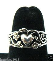 Retired James Avery Heart and Flowers Sterling Silver Ring