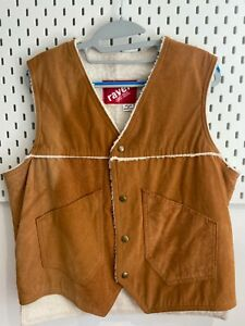 Mens Gilet L Faux Leather Lightly Distressed Tan