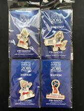 WORLD CUP 2018 MASCOT PIN BADGE RUSSIA FOOTBALL SOCCER LOGO POSE SET OF 4