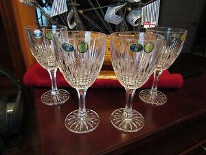 Bohemian Czech Republic 24% PbO Crystal 4 Glasses Goblets
