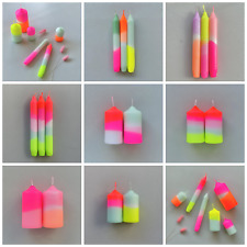 Coloured Neon Candles Bright Ombre - Dinner Pillar Bistro Clean - Sets of 2 & 3