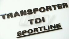 CUSTOM GLOSS BLACK VW TRANSPORTER TDI SPORTLINE BADGE SET  T4 T5 CAMPER T30 T32