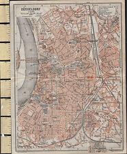 1925 GERMAN MAP ~ DUSSELDORF CITY PLAN ENVIRONS STATIONS HOSPITAL CHURCHES etc