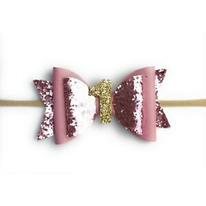 1st Birthday Girl Headband Pink Glitter Bow Soft Band 0-24Months Baby Wisp Party