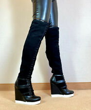 High Heels Wedges Schnür Stiefel Damen Männer Boots EU42 UK8 US11 13,5cm Absatz