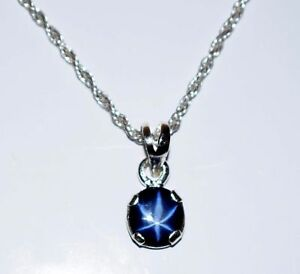 6 Rays Star Blue Sapphire 4-5 Carat Natural Oval 925 Sterling Silver Pendant