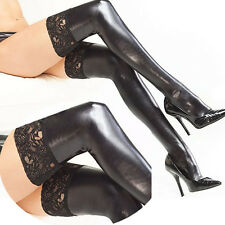 Punk Black Wet Look Faux Leather Shine Thigh-High Stretchy Stockings Lace Top OS