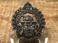 Antique Original Ww1 Canadian Cef 163rd Battalion Collar Cap Badge Insignia