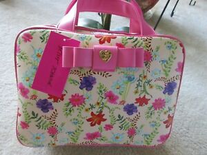 Betsey Johnson Double Compartment Travel Pink Multi Makeup Cosmetic Case  NWT