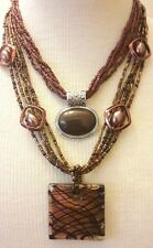 LOT OF 2 BROWN TONES NECKLACES SEED BEADS GLASS PENDANT LOVELY!