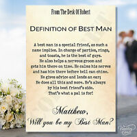 Will You Be My Usher Card Best man Groomsman Cards Invites Wedding Vintage Chic