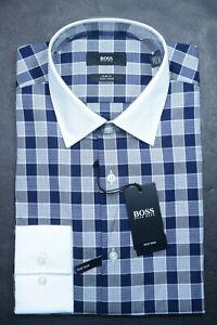 Hugo Boss Mens Jonnes Slim Fit WHT Collar Blue Plaids Cotton Dress Shirt 41 16