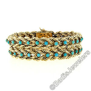 Vintage Retro 14K Rosy Yellow Gold Turquoise Wide Braided Rope Chain Bracelet