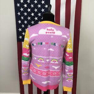 XL women's Hulu pen15 Pen 15 pink striped sweater rainbow gel pen xmas 2e962p