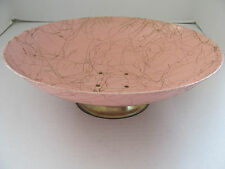 RETRO PINK ENAMELWARE METAL FOOTED CONSOLE BOWL W GOLD THREADED DESIGN