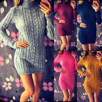 Women Long Sleeve Sweater Mini Jumper Dress Winter Knitted Turtleneck Party Tops
