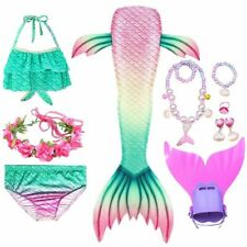 Kids Mermaid Tail Swimsuit With Fins Tops Monofin Halloween Costumes Cosplay