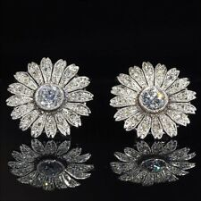 1.48 ROUND FLORAL BEAUTIFUL BRIDAL DIAMOND STUD EARRINGS IN 925 STERLING SILVER