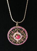 Vintage Pink Rhinestones Round Pendant Necklace Intricate Design