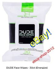 DUDE WIPES FACE On-The-Go 3 In 1 Cleanse Refresh & Energize 30 Face Wipes NEW!🚨