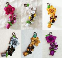 Keychain Genuine Leather Flower Keyring Charm Hook Handbag Women Accessories