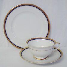 Rosenthal China 5231 Tea Trio Cup Saucer Plate Gold Laurel & Cobalt Trim White