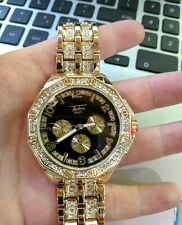 Men Iced Watch Bling Rapper Simulated Diamond Metal Band Gold Black Hip Luxury