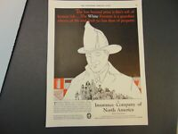 1930 INSURANCE COMPANY of NORTH AMERICA The WHITE FIREMAN print ad