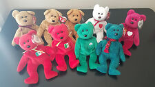 Lot of 9 TY Beanie Babies Bears Osito Erin Wallace Curley Cashew Fuzz Valentino