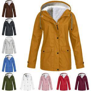 Womens Winter Warm Hooded Waterproof Zip Rain Coat Ladies Outdoor Forest Jacket
