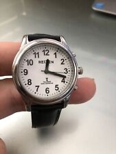Talking Radio-Controlled Stainless Steel Watch - Leather - Reizen