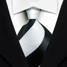 TK040 Black White Stripe New Classic WOVEN Silk JACQUARD Necktie Men's Tie