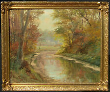 American or Canadian Fall Stream View Large Old Impressionist Oil Painting NR