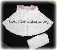 Handmade cape size 3-4 girls small white fleece and pink flannel lining has hood