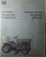 John Deere 43C & 54C Center Blade 110 112 200 140 Garden Tractor Operator Manual