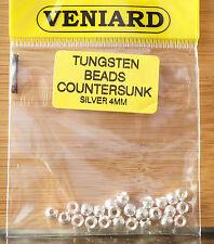 Tungsten Beads 25 Stück Veniard 4 mm silver / silber