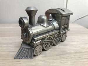 Vintage Oneida Silver Metal Train Engine Locomotive Piggy Bank Coin Saving Gift